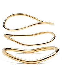 Lady Grey Wave Bangle Set In Gold - Multicolor