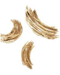 Lady Grey Brushstroke Pin Set In Gold - Metallic
