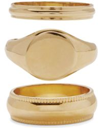 Lady Grey Signature Ring Set In Gold - Metallic