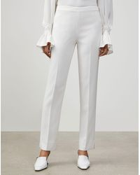 Lafayette 148 New York Plus-size Finesse Crepe Front Zip Ankle Length Pant - White