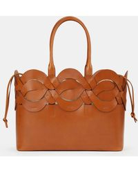 Lafayette 148 New York Italian Leather 8 Knot Tote - Brown