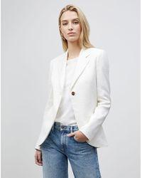 Lafayette 148 New York Petite Fae Blazer In Granular Weave - White