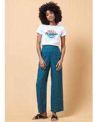 La Fee Maraboutee Pantalon en lin uni droit - Bleu