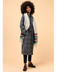 La Fee Maraboutee Manteau long à carreaux en laine et polyester recyclés - Bleu