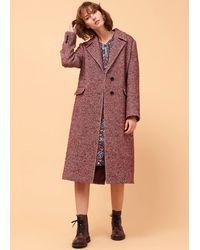 La Fee Maraboutee Long manteau à carreaux en laine mélangée - Multicolore