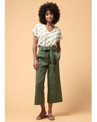 La Fee Maraboutee Pantalon cropped large en coton Kaki - Vert