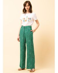 La Fee Maraboutee Pantalon en crêpe de viscose imprimé - Vert
