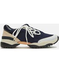 Y's Yohji Yamamoto - Neoprene Leather Diagonal Shoelace Sneaker - Lyst