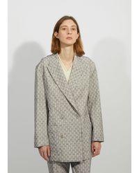 Acne Studios Jay Floral Jacquard Suit Jacket - Blue