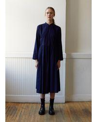Blue Blue Japan Indigo Yarn Dyed Flannel Bassen Dress - Blue