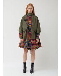 Sacai Oxford X Floral Stripe Embroidery Coat - Multicolour