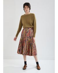 Margaret Howell Paisley Pleated Poplin Skirt - Multicolor