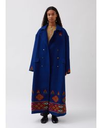 Péro Double Breasted Coat - Blue
