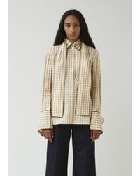JW Anderson Scarf Collar Gingham Shirt - Natural