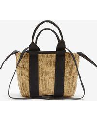 Muuñ Mini Caba Straw Bag - Black