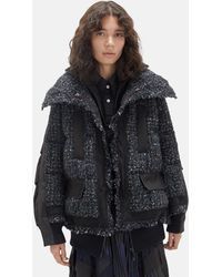 Sacai Mix Tweed Blouson Puffer Coat - Black