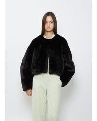 Amomento Round Shape Eco Fur Jacket - Black