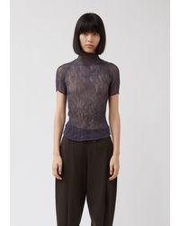 Issey Miyake Chiffon Twist Short Sleeve Top - Grey