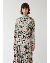 Junya Watanabe Silk Crepe De Chine Flower Pattern Shirt - Green