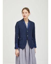 Pas De Calais Linen Indigo Jacket - Blue