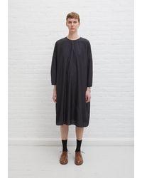École de Curiosités Damia Silk Cotton Poplin Dress - Black