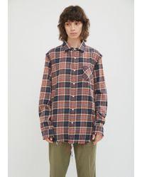 R13 - Shredded Seam Flannel Shirt - Lyst
