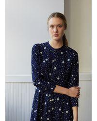 "Blue Blue Japan Women Indigo Yarn Dyed Flannel Snowflake Dot Pattern ""bassen"" Dress - Blue"