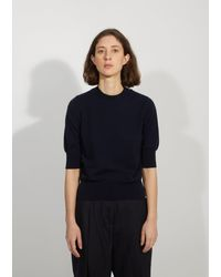Margaret Howell Cashmere & Cotton Crop Sleeve Jumper - Blue