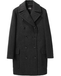 Zucca - Double Breasted Pea Coat - Lyst