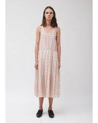 Sara Lanzi Muslin Tank Top Pleated Dress - Pink