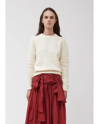 Sara Lanzi Knitted Felted Chenille Micropull Sweater - Natural