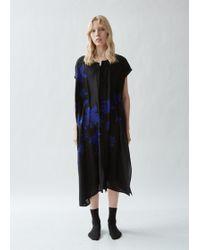 Yohji Yamamoto Silk Button Front Asymmetrical Dress - Black