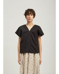 Black Crane | Two Panels Short Sleeve Cotton Top | Lyst