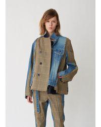 Sacai - Glencheck X Denim Jacket - Lyst