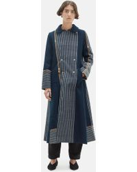 Péro Chequered Wool Reversible Coat - Blue