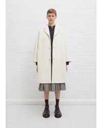 École de Curiosités Cooper Wool Jersey Coat - White