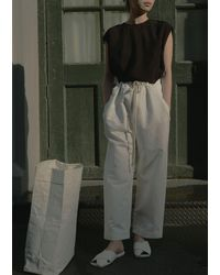 Sara Lanzi Cotton & Linen Satin Drawstring Trousers - Multicolour