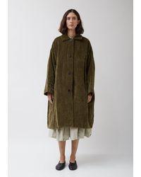 Casey Casey Olive Cotton-linen Velvet Blob Coat - Green