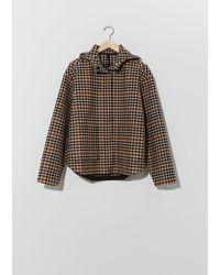 Sara Lanzi Checked Wool Hoodie Jacket - Multicolor