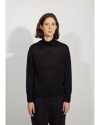 Margaret Howell Linen & Cotton Wide Rollneck Sweater - Blue