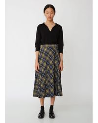 Margaret Howell Fade Out Windowpane Checked Pleated Skirt - Black