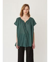 Pas De Calais Cotton Draped Blouse - Green