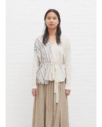 Pas De Calais Organic Cotton Stripe Blouse - White