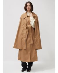 Lemaire Double-breasted Twill Trench Cape - Brown