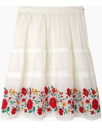 Zucca - Sandra Floral Embroidery Skirt - Lyst