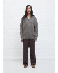 AURALEE Brushed Mohair V-neck Knit - Grey