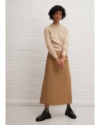 Sara Lanzi Long Twill Skirt - Natural