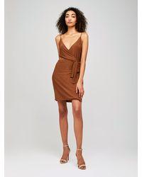 L'Agence Tate Wrap Dress - Brown