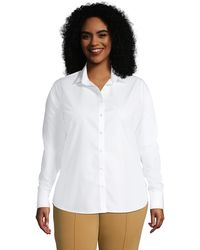 Lands' End Non-iron Supima Shirt, Women, Size: 20 Plus, White, Cotton, By