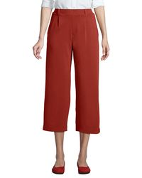 Lands' End Sport Knit Leg Pull On Crop Trousers, Women, Size: 8 Regular, Red, Cotton, By Lands'end